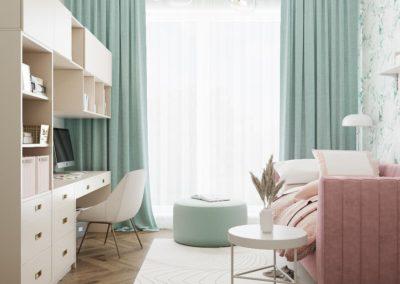 Нежный дизайн комнаты подростка с компактной рабочей зоной