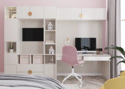 Уютная детская в розовых тонах с деревянной мебелью