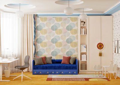 Стильная детская для мальчика с ярким синим диваном
