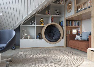 Комната для мальчика со шведской стенкой и скалодромом