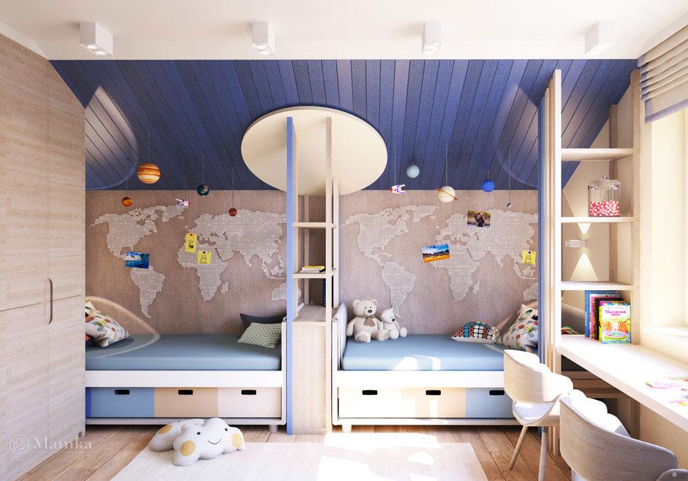 Дизайн детской на двоих с нестандартным декором 1