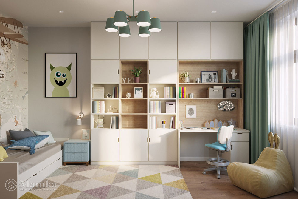 Дизайн детской в современном стиле и пастельных тонах 2