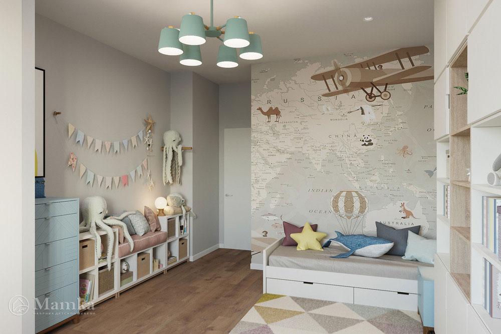 Дизайн детской в современном стиле и пастельных тонах 3