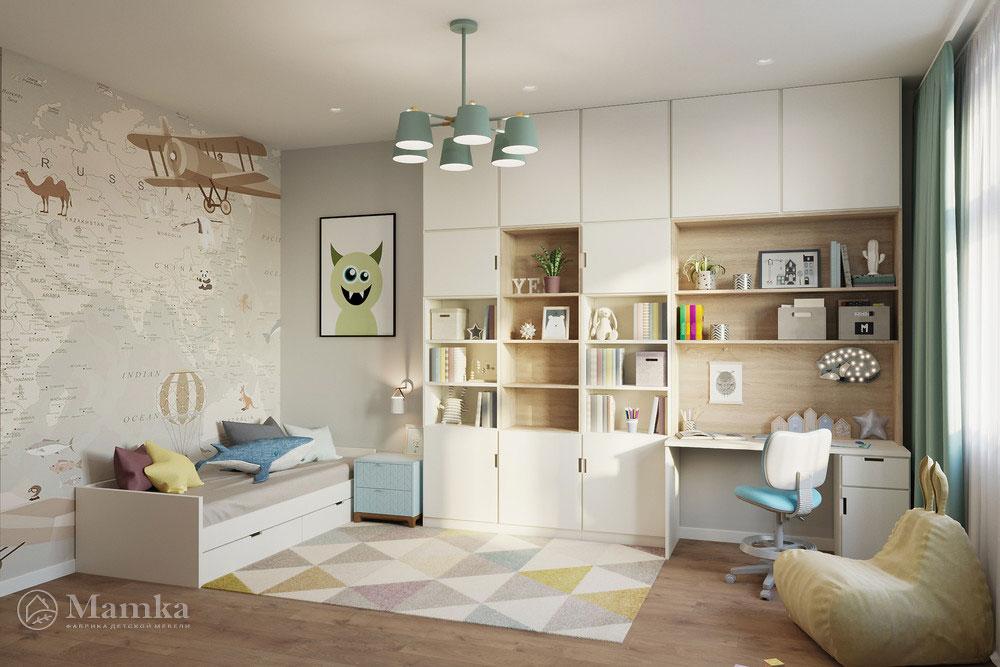 Дизайн детской в современном стиле и пастельных тонах 4