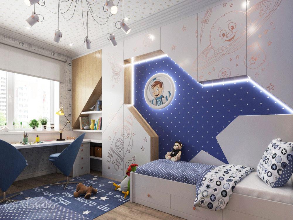 Дизайн интерьера детской для мальчика в космической тематике 1
