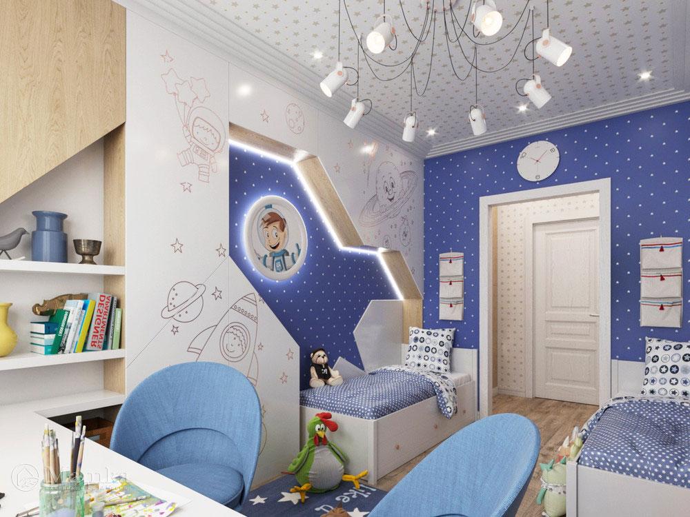 Дизайн интерьера детской для мальчика в космической тематике 2