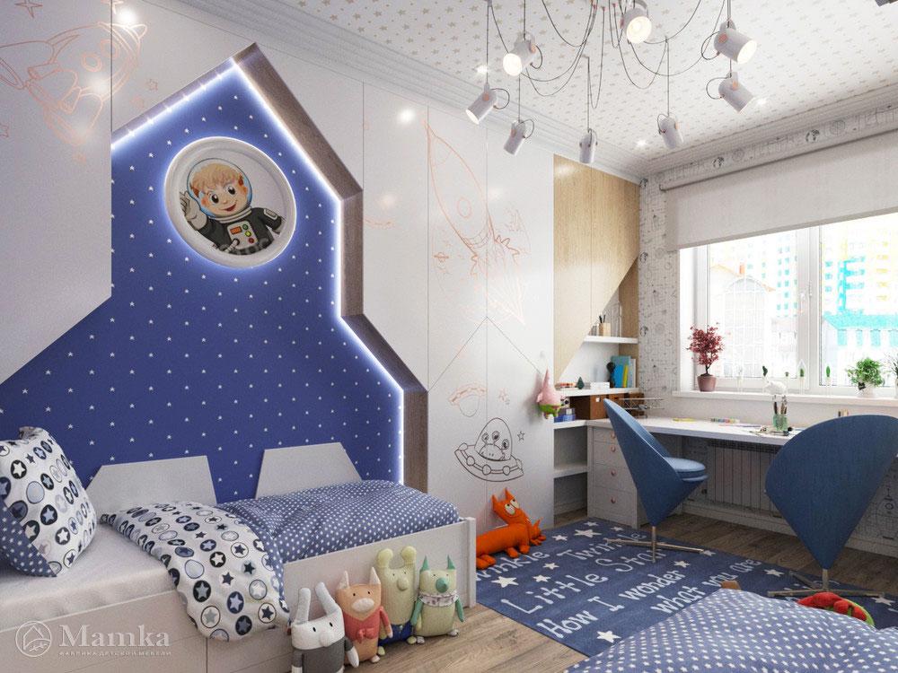 Дизайн интерьера детской для мальчика в космической тематике 3