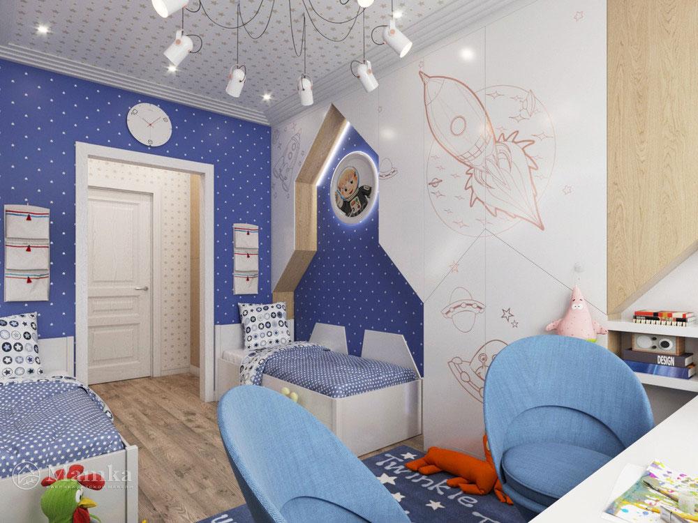 Дизайн интерьера детской для мальчика в космической тематике 4
