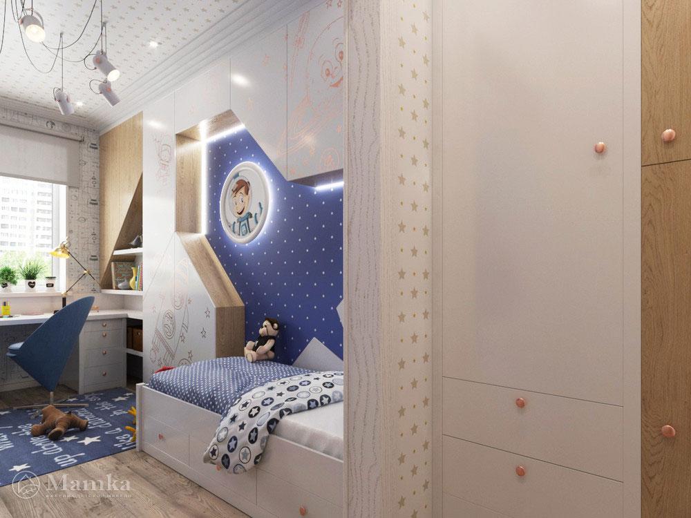 Дизайн интерьера детской для мальчика в космической тематике 5
