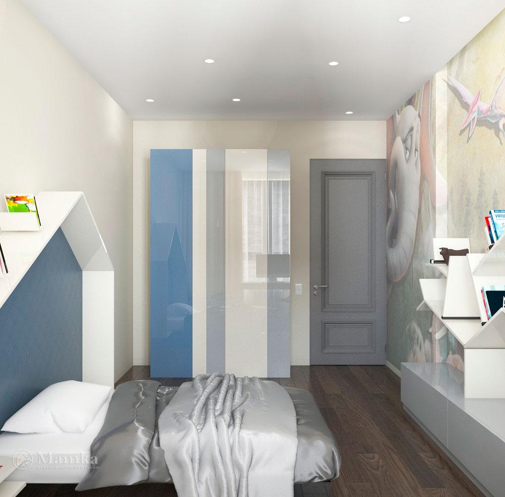 Дизайн интерьера детской для мальчика в стиле минимализм 3