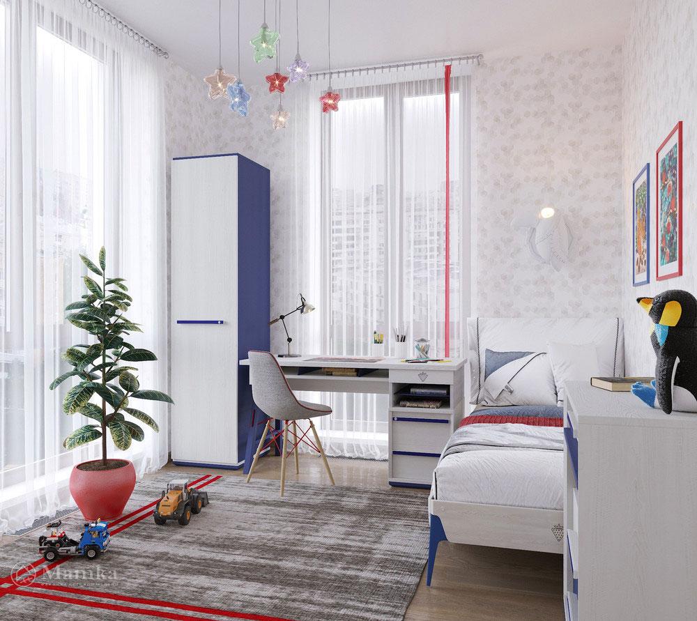 Дизайн интерьера детской для мальчика в светлых тонах 1
