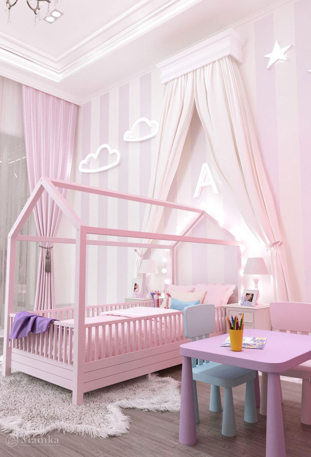 Утонченный дизайн маленькой детской комнаты для девочки в розовом тоне 1