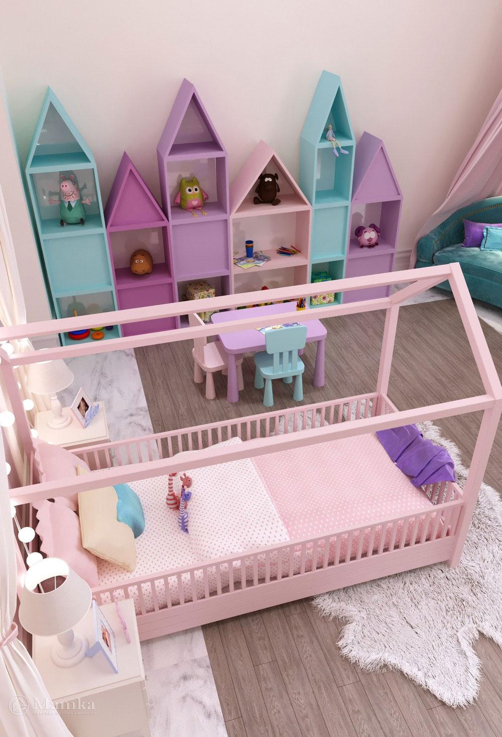 Утонченный дизайн маленькой детской комнаты для девочки в розовом тоне 2