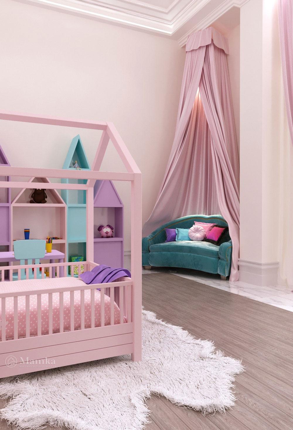 Утонченный дизайн маленькой детской комнаты для девочки в розовом тоне 3