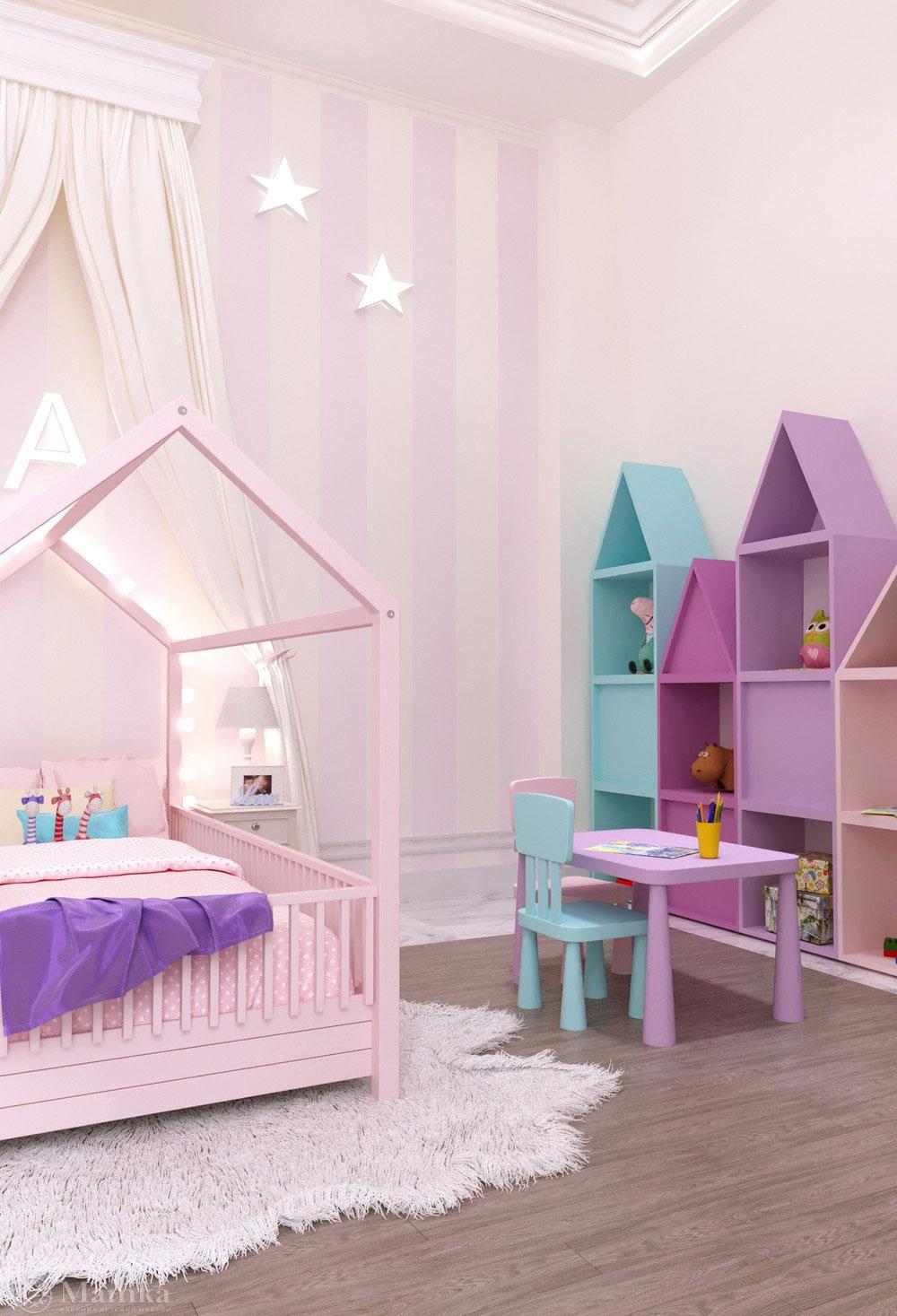Утонченный дизайн маленькой детской комнаты для девочки в розовом тоне 5