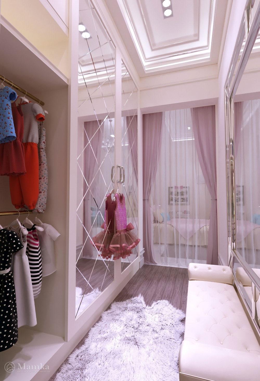 Утонченный дизайн маленькой детской комнаты для девочки в розовом тоне 7