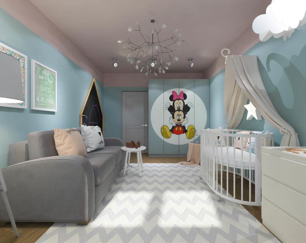 Дизайн маленькой детской комнаты для девочки в синих тонах 1