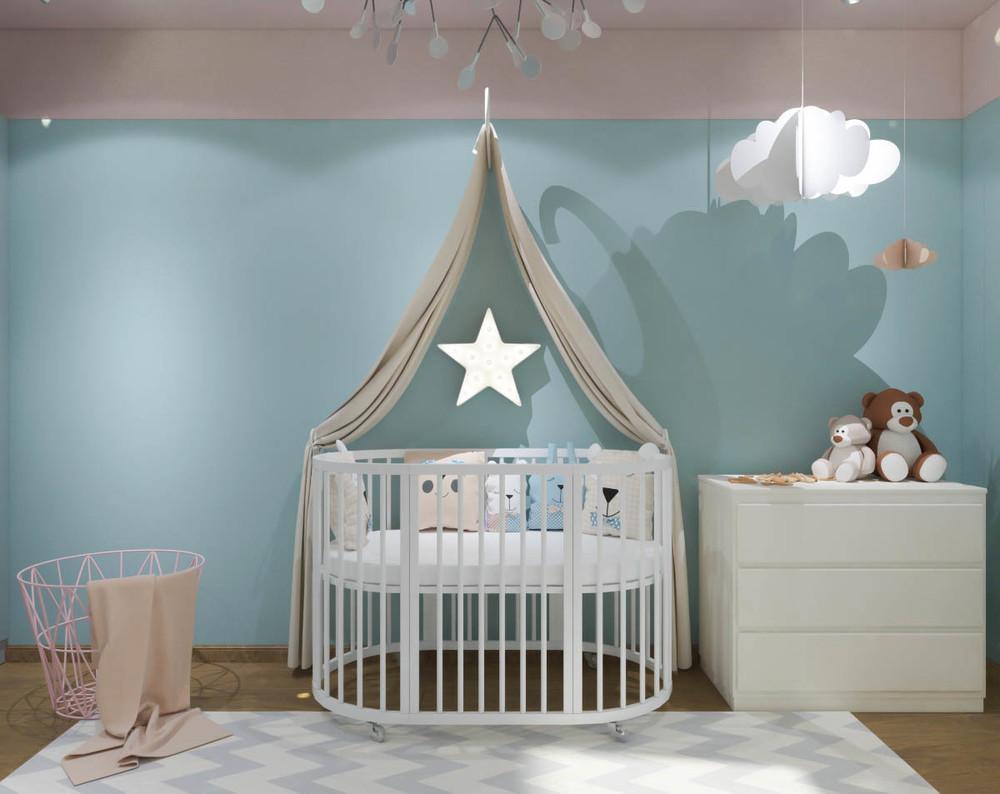 Дизайн маленькой детской комнаты для девочки в синих тонах 2