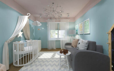 Розовые облака — дизайн-проект маленькой детской комнаты для девочки
