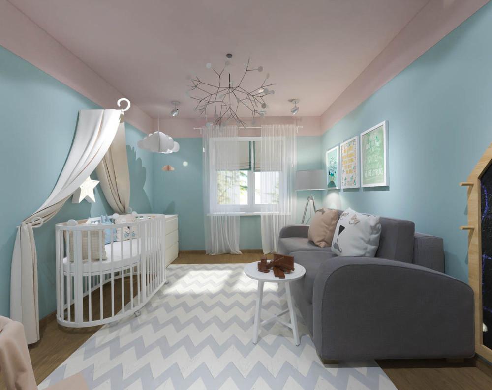 Дизайн маленькой детской комнаты для девочки в синих тонах 3