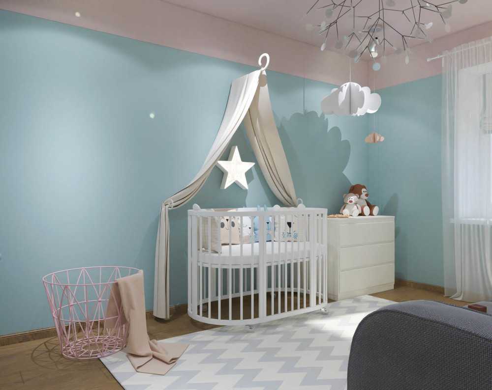Дизайн маленькой детской комнаты для девочки в синих тонах 4