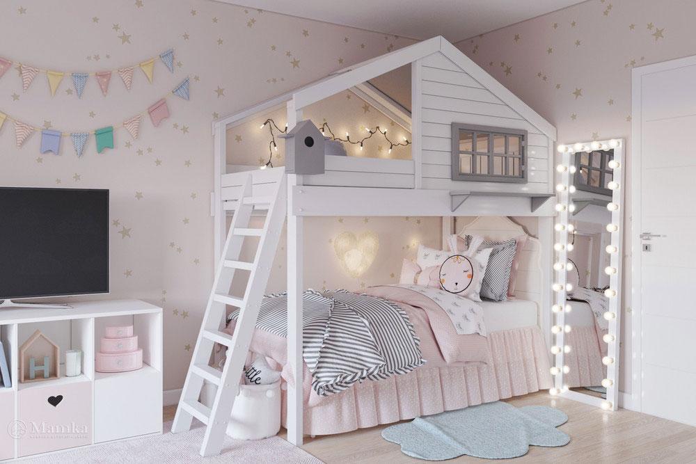Дизайн маленькой детской комнаты для девочки в пудровой палитре 1