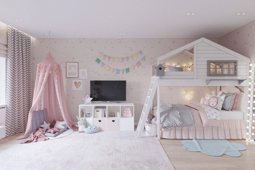 Дизайн маленькой детской комнаты для девочки в пудровой палитре фото 2