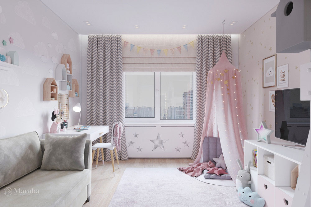 Дизайн маленькой детской комнаты для девочки в пудровой палитре 3