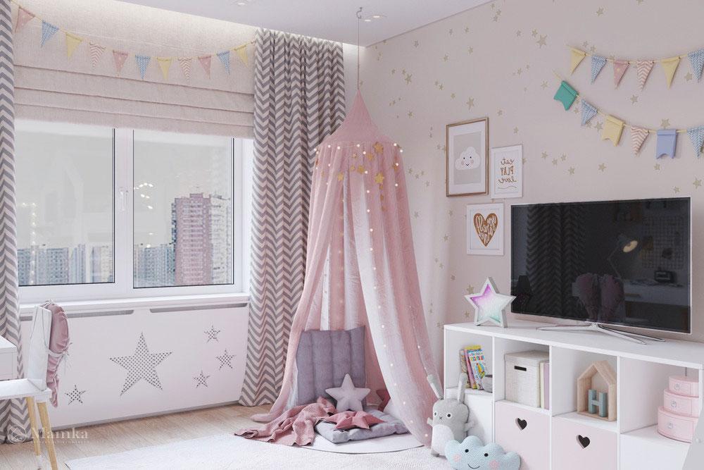 Дизайн маленькой детской комнаты для девочки в пудровой палитре 4