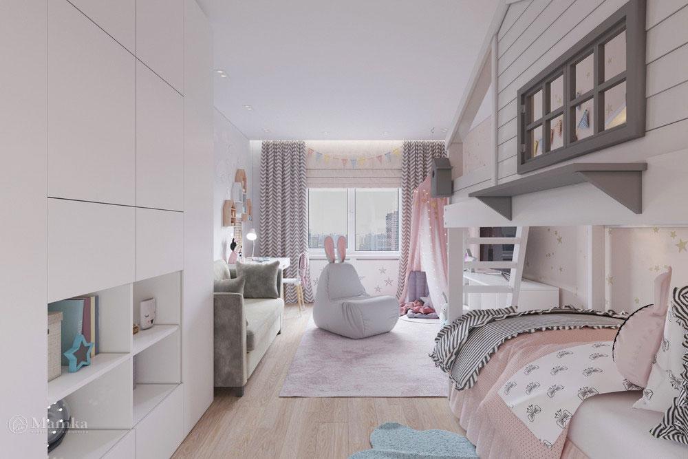 Дизайн маленькой детской комнаты для девочки в пудровой палитре 5