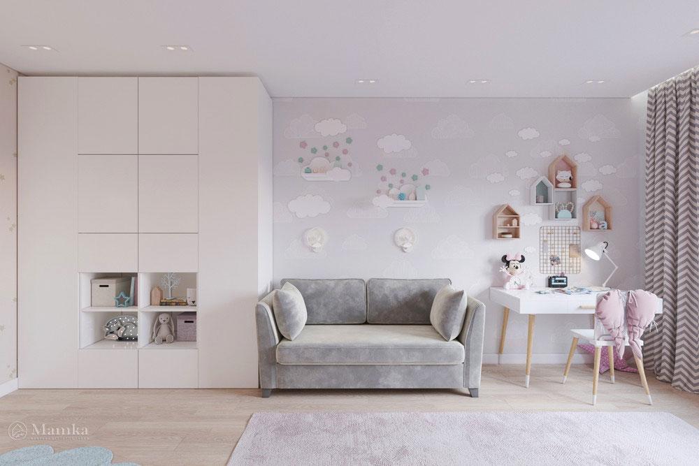 Дизайн маленькой детской комнаты для девочки в пудровой палитре 6