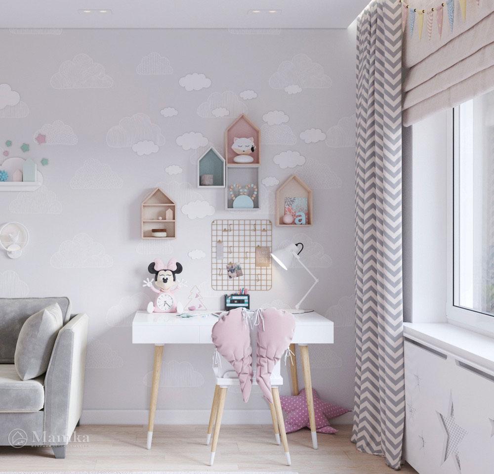 Дизайн маленькой детской комнаты для девочки в пудровой палитре 7