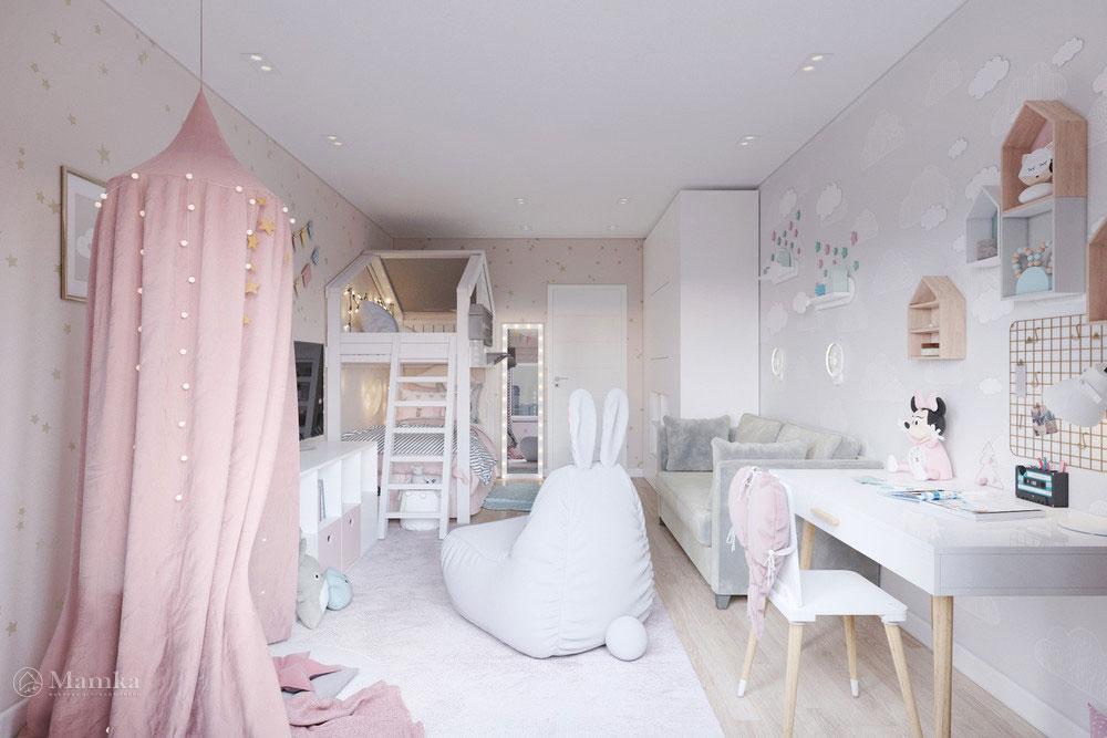 Дизайн маленькой детской комнаты для девочки в пудровой палитре 8