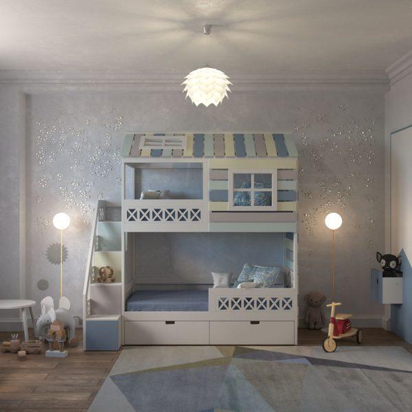 Двухъярусная кровать домик Твин Прованс фото