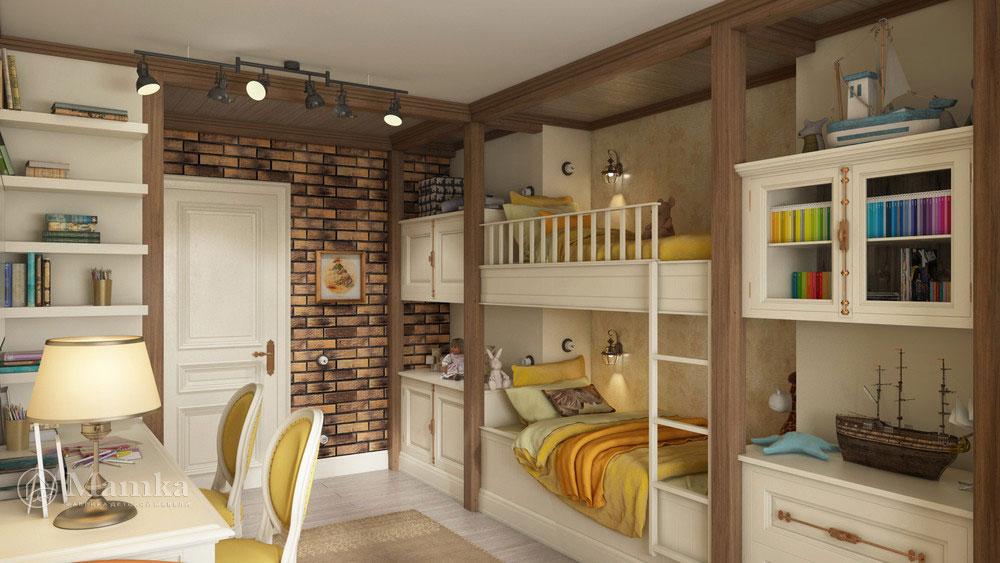 Элегантный дизайн детской на двоих с мебелью 2