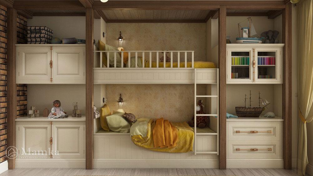 Элегантный дизайн детской на двоих с мебелью 3