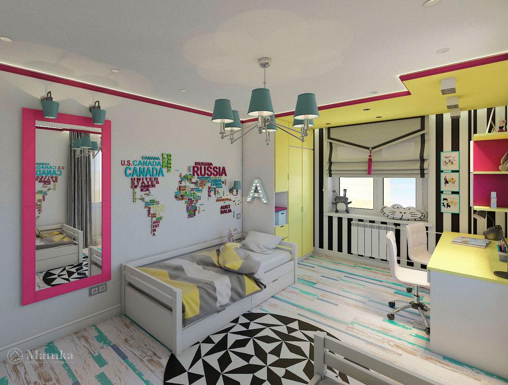 Эргономичная детская комната для двух сестер в сочном цвете 1