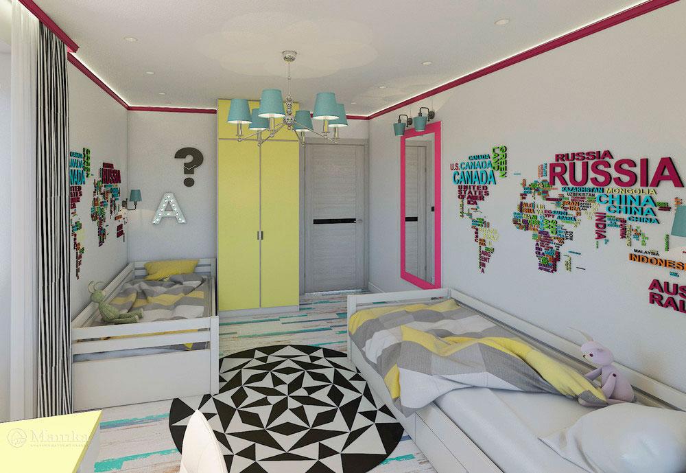 Эргономичная детская комната для двух сестер в сочном цвете 2