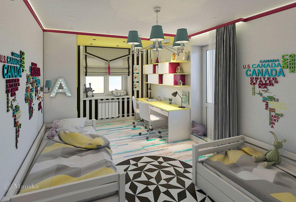 Эргономичная детская комната для двух сестер в сочном цвете 3