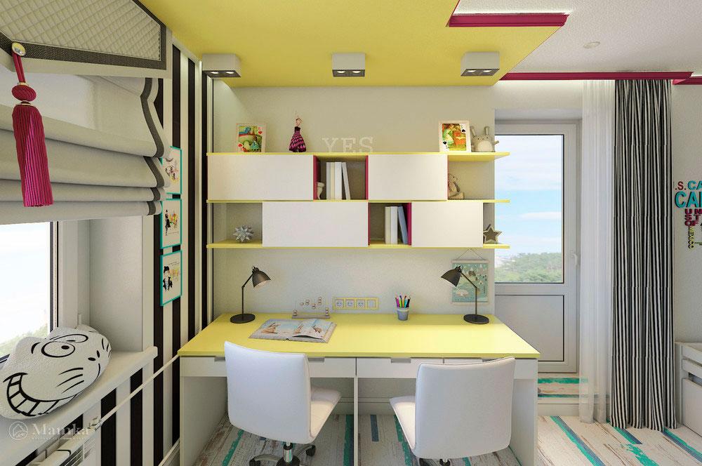 Эргономичная детская комната для двух сестер в сочном цвете 4