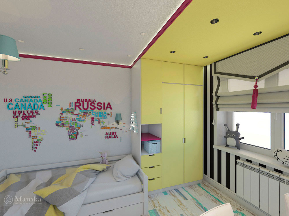 Эргономичная детская комната для двух сестер в сочном цвете 5