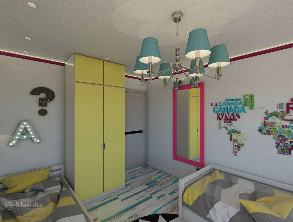Эргономичная детская комната для двух сестер в сочном цвете 6