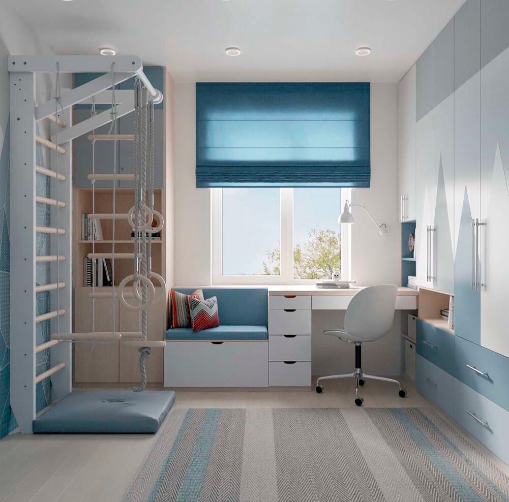 Голубая мебель в комнату мальчика проект 3867-1