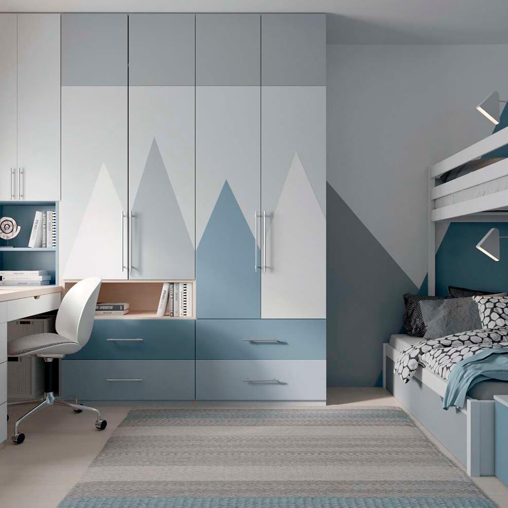 Голубая мебель в комнату мальчика проект 3867-2