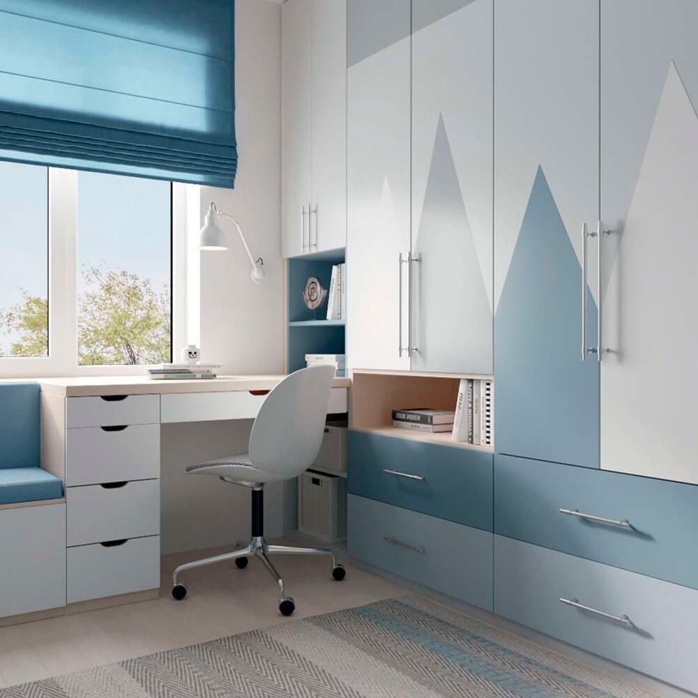 Голубая мебель в комнату мальчика проект 3867-3