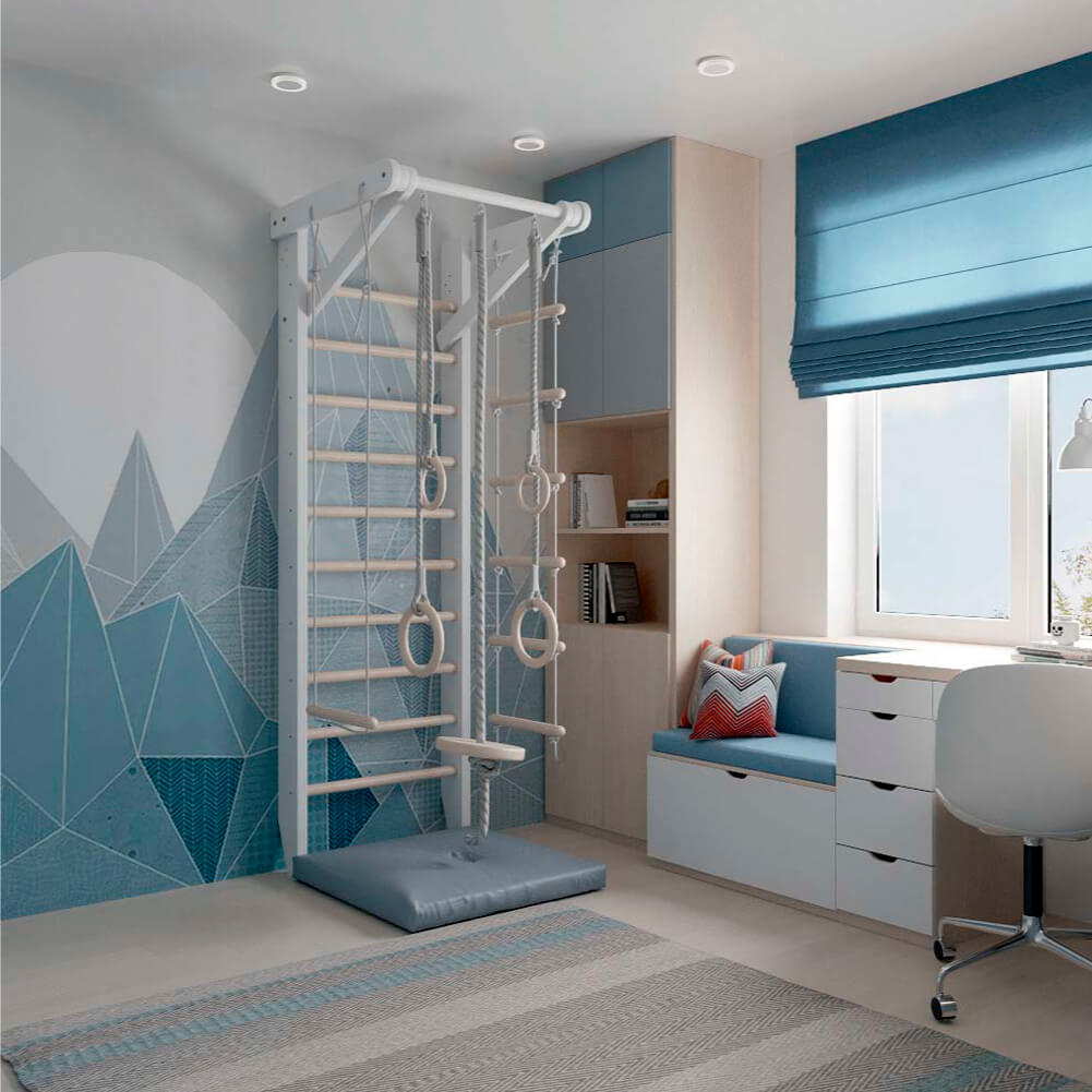 Голубая мебель в комнату мальчика проект 3867-4