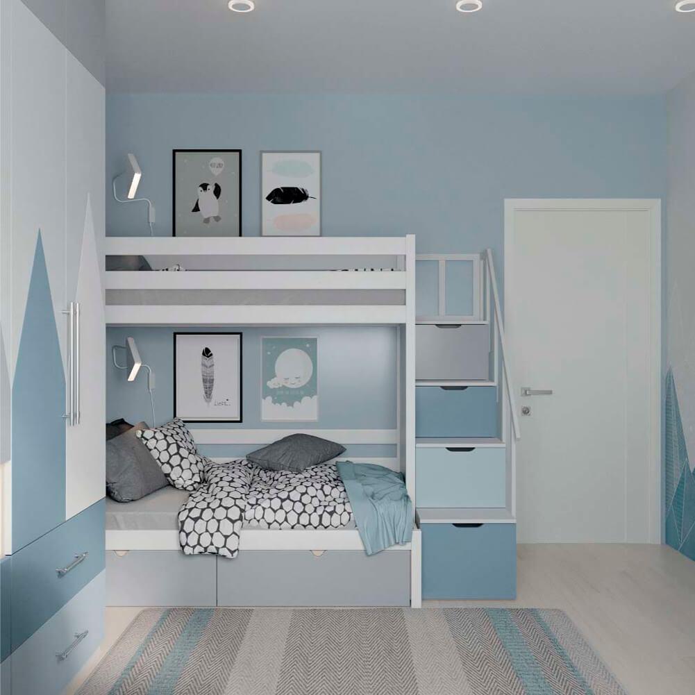 Голубая мебель в комнату мальчика проект 3867-5