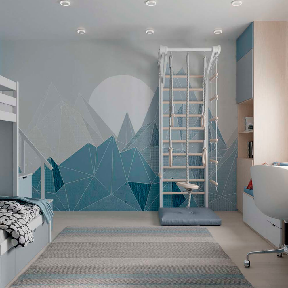 Голубая мебель в комнату мальчика проект 3867-6