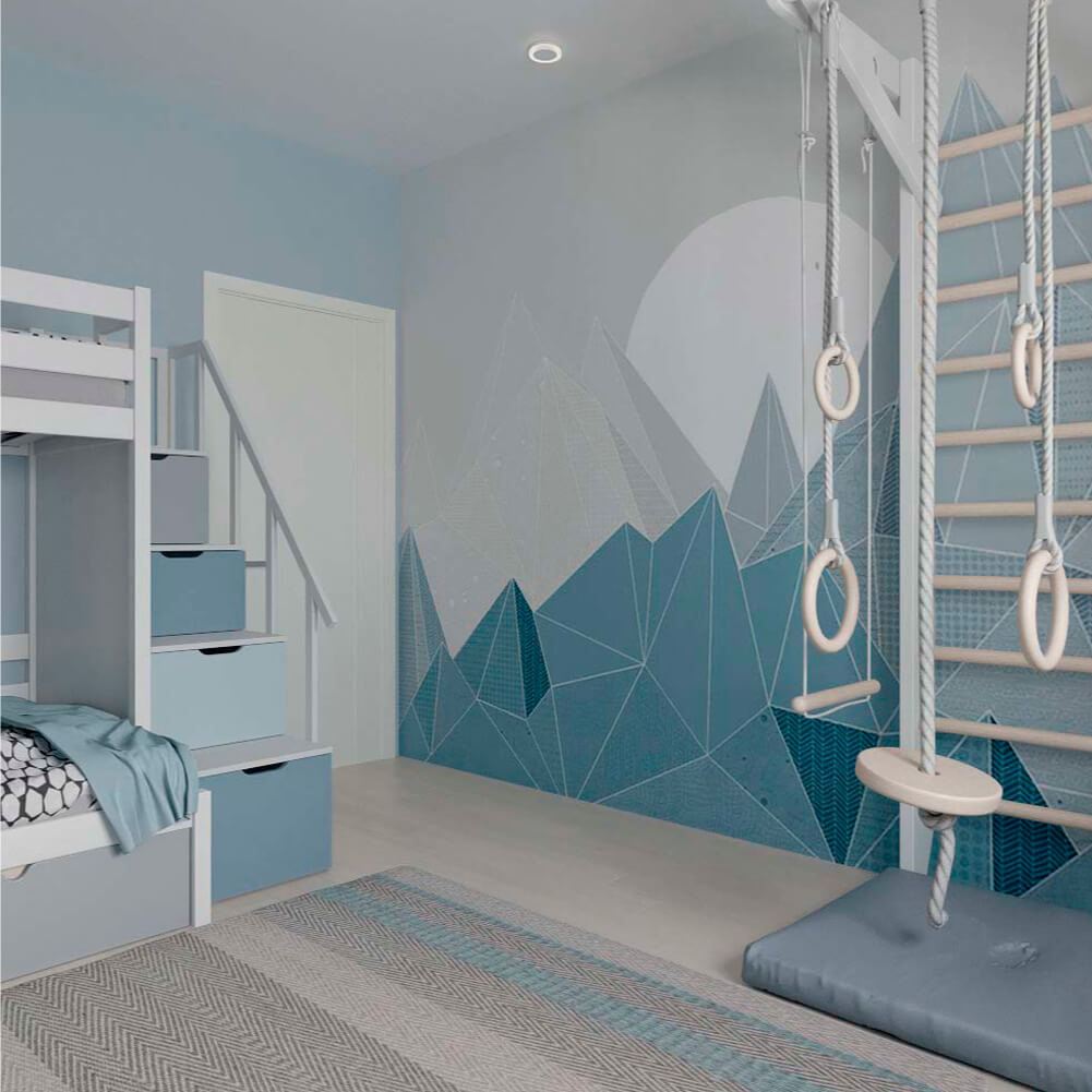 Голубая мебель в комнату мальчика проект 3867-7
