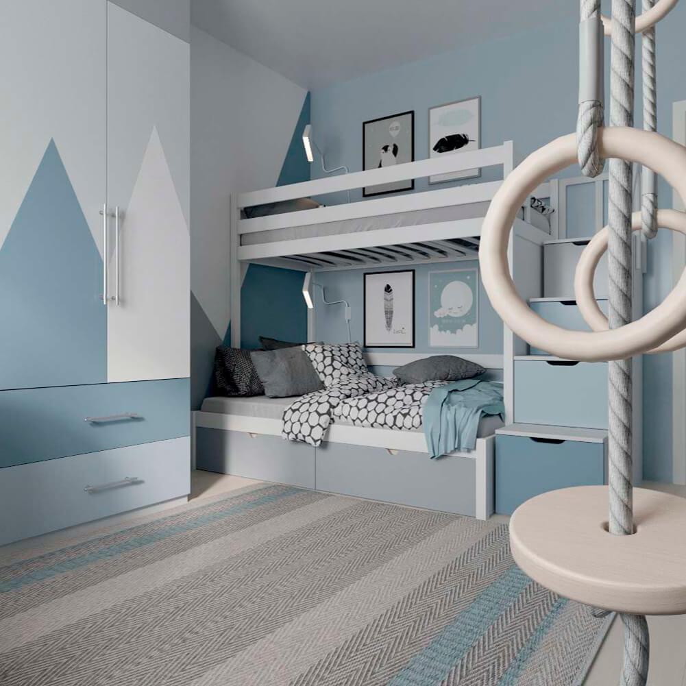Голубая мебель в комнату мальчика проект 3867-8